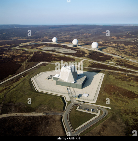 Fylingdales Early Warning Station North Yorkshire Moors UK aerial view - Stock Image