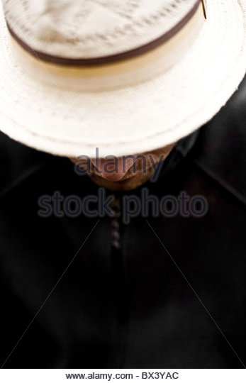 Cricket hat look down - Stock Image