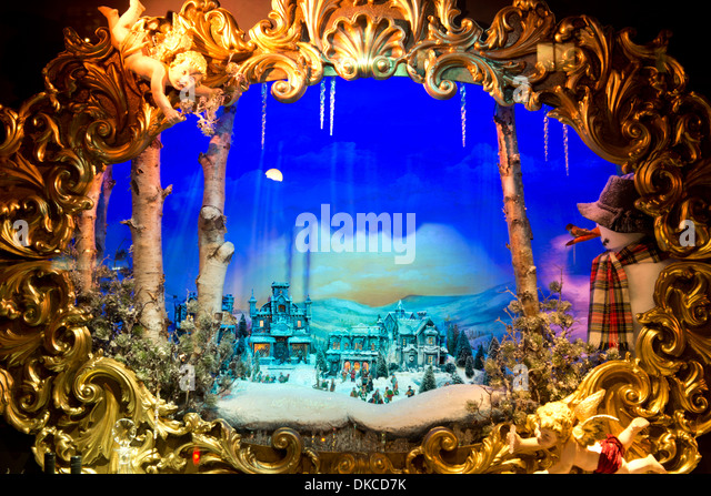 Christmas window display children stock photos christmas - Fortnum and mason christmas decorations ...