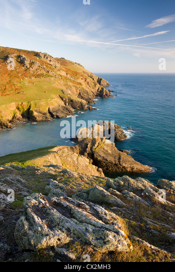 Soar Mill Cove from Cathole Cliff, South Hams, Devon, England. Autumn (September) 2010 - Stock Image