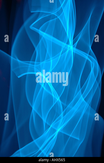 Abstract of a moving cool blue neon light - Stock Image