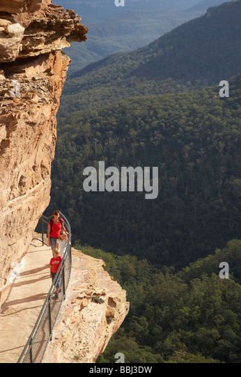 National Pass Trail Overhanging Jamison Valley Wentworth Falls Blue Mountains New South Wales Australia - Stock Image