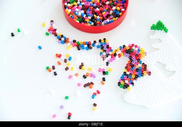 Ironing Beads On Table - Stock Image