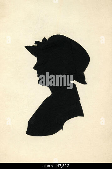The silhouette of a woman's head with hat, Denmark - Stock Image