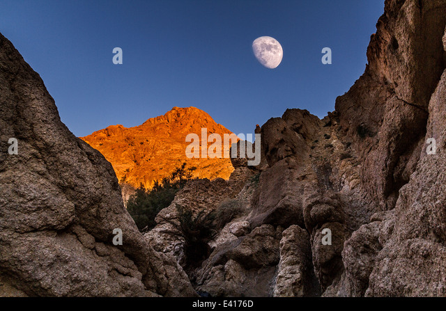 Moon in a mountain oasis - Stock Image