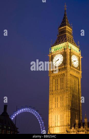 Big Ben and London Eye - Stock Image