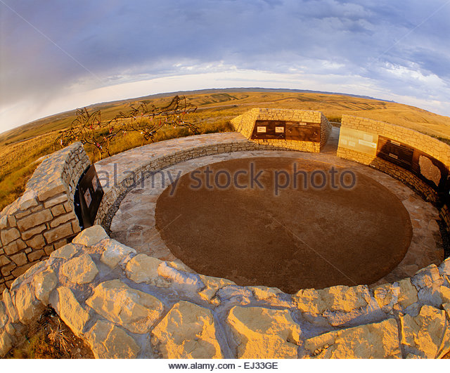 The Indian Memorial at Little Bighorn Battlefield National Monument, Montana - Stock Image