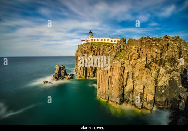 Neist Point lighthouse at Isle of Skye, Scottish highlands, United Kingdom. Long exposure - Stock Image