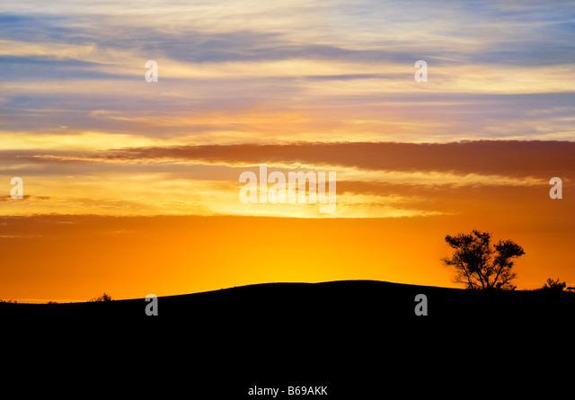 Sunset silhouette at Yunta South Australia - Stock-Bilder