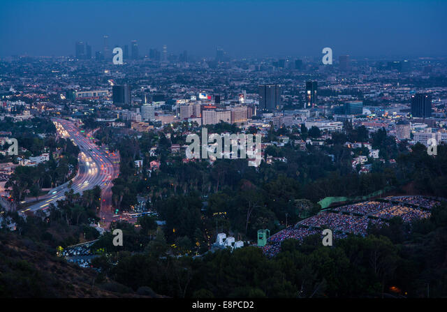 View of 101 Freeway, the Hollywood Bowl & Los Angeles from Mulholland Drive, California, USA - Stock Image