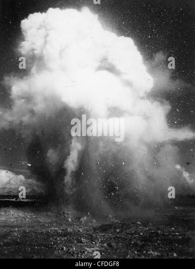 WWII explosion explosives marines pacific cloud - Stock Image
