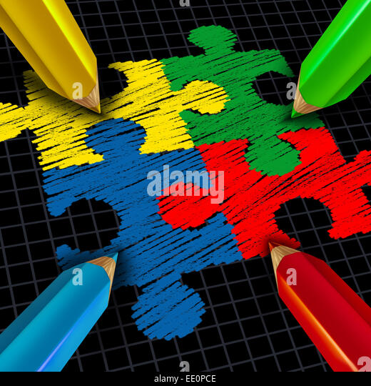 Assembling a business group jigsaw puzzle concept as color pencils drawing pieces connected together as a team and - Stock Image