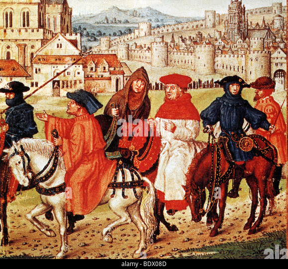 THE CANTERBURY PILGRIMS  as shown in a medieval edition of the book by Chaucer - Stock Image