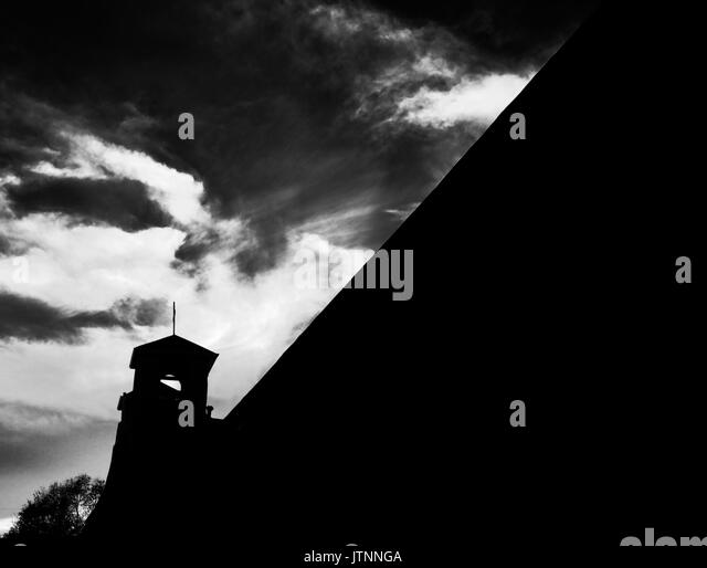 A dark and moody picture of the Ranchos de Taos Church in Taos, New Mexico that Georgia O'Keefe painted numerous - Stock Image