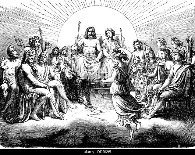 religion ancient world Greek mythology assembly of the Gods wood engraving 19th century 19th century graphic graphics - Stock Image
