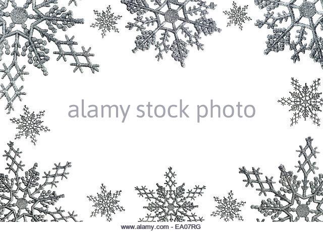 Snowflake border white stock photos