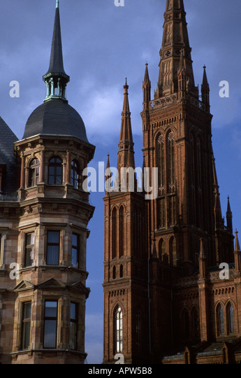 Germany Weisbaden cathedral city offices architecture - Stock Image