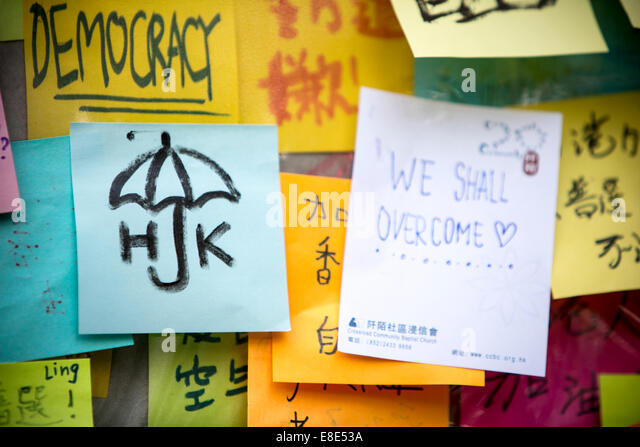 umbrella revolution in hong kong, fighting for democracy - Stock Image