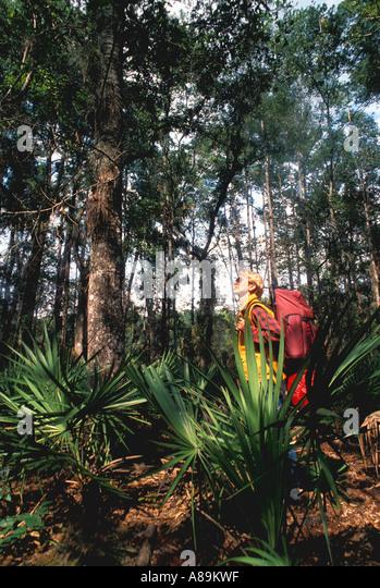 Florida  hiking backpacker woman - Stock Image