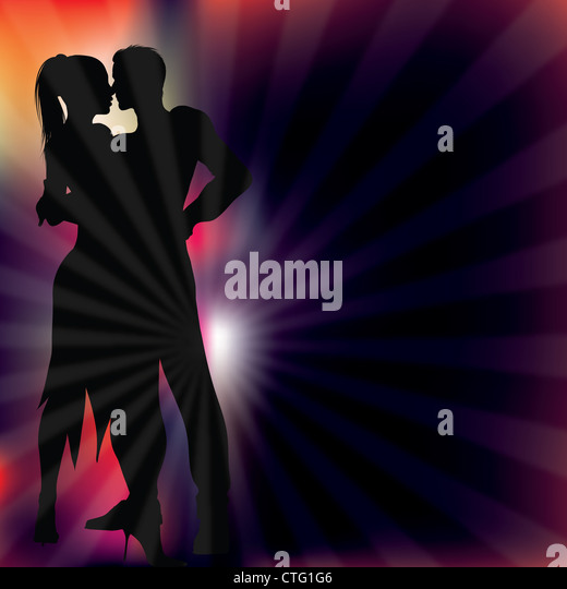 dancers silhouette with ray light background vector illustration - Stock Image