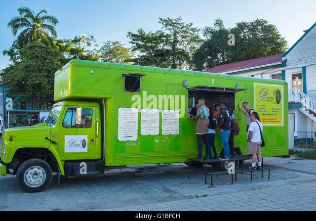 Belize, Belize district, Belize City, food truck - Stock Image