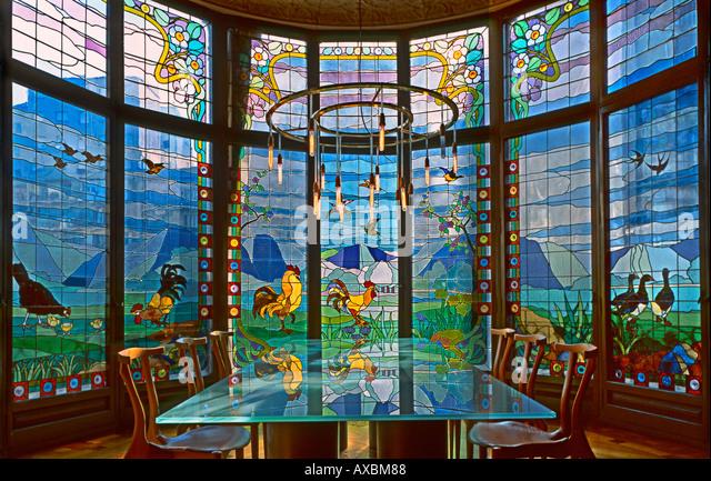 ESP Spain Barcelona Paseig de Gracia Casa Lleo Morera by architect Montaner interieur beautiful glas art rondel - Stock Image