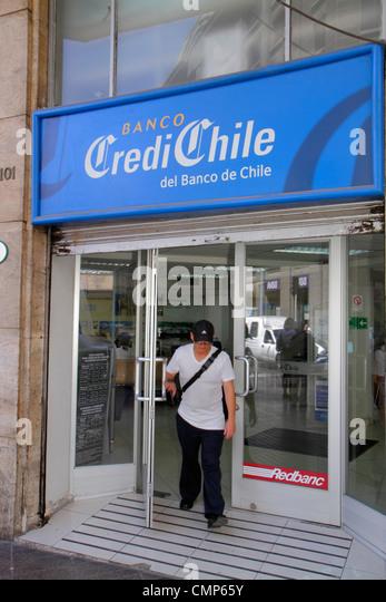 Chile Santiago Calle Bandera Banco CrediChile Bank of Chile division bank consumer banking financial services money - Stock Image