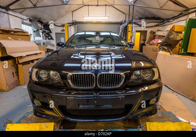 bmw m3 car repaired after crash,england,uk - Stock Image