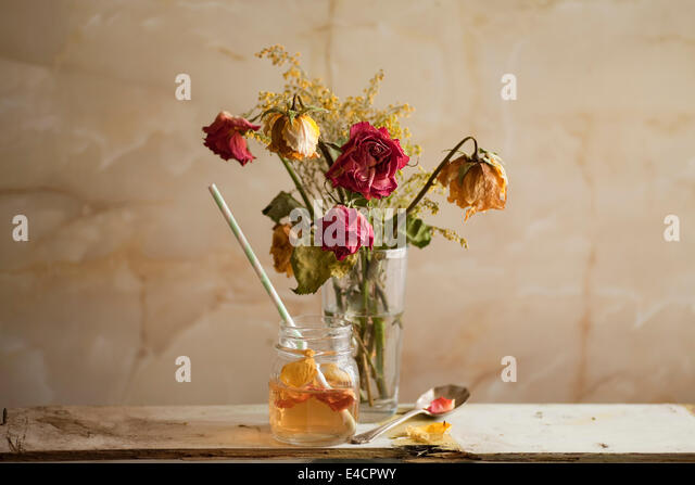A light drink of refreshing Rose Petal Tea. - Stock Image