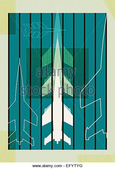 Retro military rocket wood panel illustration - Stock-Bilder