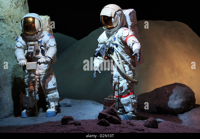 Astronaut suits in the Space Center, Houston, Texas, United States of America - Stock Image