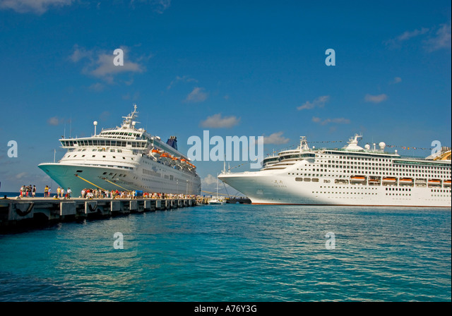 Cozumel Mexico San Miguel town southern cruise dock open space text space copy space type space - Stock Image