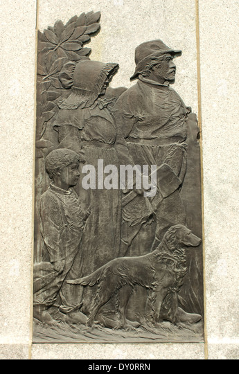 Monument to Ohio pioneers at the Fallen Timbers battlefield, Ohio. - Stock Image