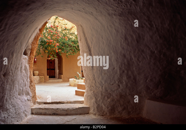 Interior of the cave hotel at Matmata in Tunisia. The hotel was used as a setting in the 1977 movie Star Wars by - Stock Image