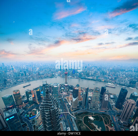 bird's eye view of shanghai panorama - Stock Image