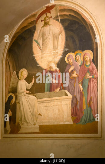 Resurrection of Christ and Women at the Tomb, Cell 8, by Fra Beato Angelico, 1440-42, Convent of San Marco, Florence, - Stock Image