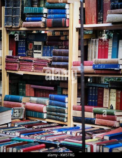 Book Stall on Portobello Road Market in London - Stock Image