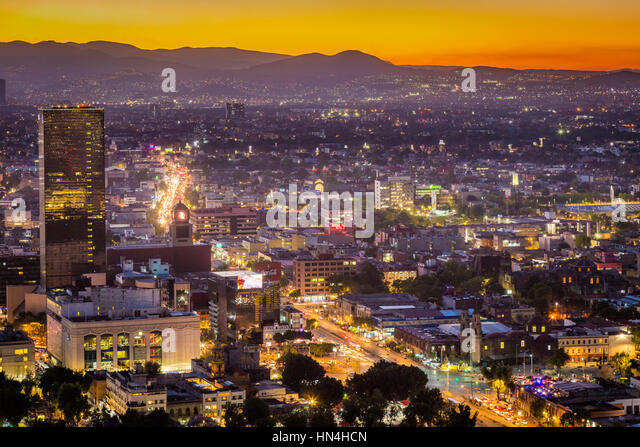 View of Mexico City from Torre LatinoAmericana. Mexico City is the densely populated, high-altitude capital of Mexico. - Stock Image