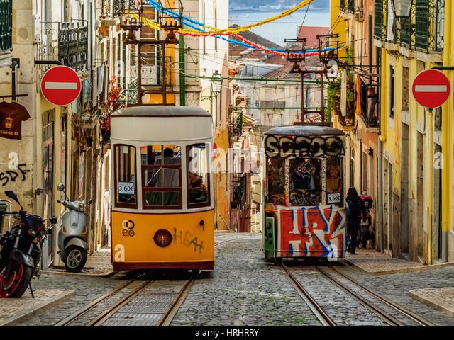 View of the Bica Funicular, Lisbon, Portugal - Stock-Bilder