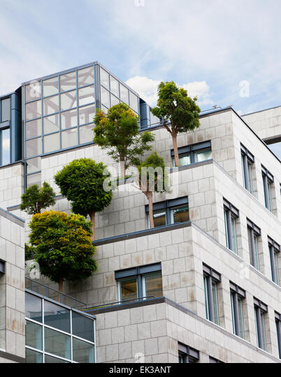 trees growing on a roof of the business center, the solution of environmental problems - Stock-Bilder