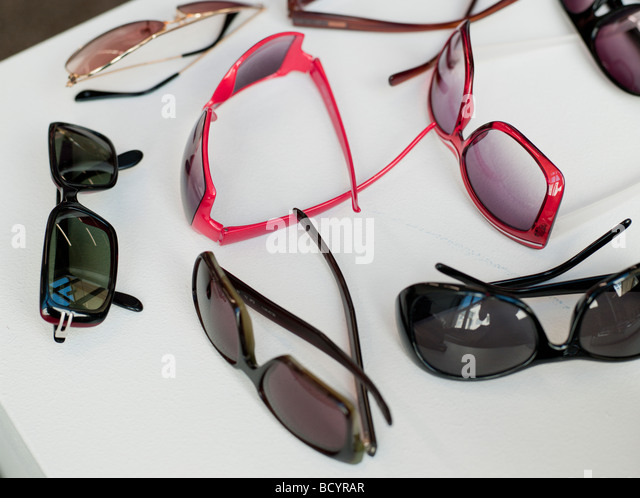 assortment of sunglasses - Stock Image
