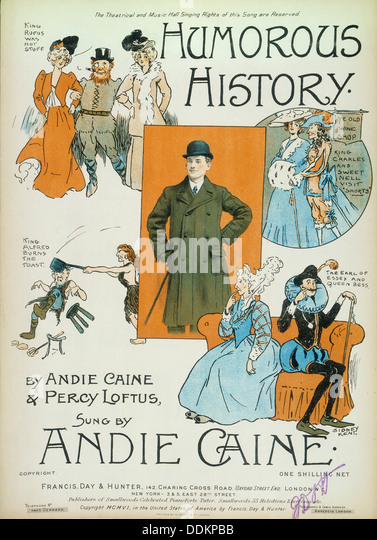 'Humorous History'; cartoons on cover of book of sheet music, 1906. Artist: Sidney Kent - Stock Image