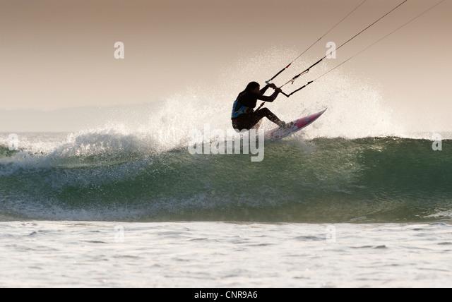 Kitesurfing in Tarifa, Cadiz, Andalusia, Spain. - Stock Image
