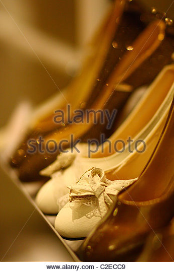 A row of shoes - Stock Image