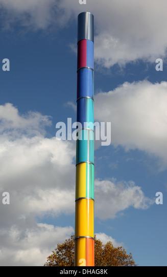 Rainbow post at the Bauhaus Archive in Berlin, Germany - Stock-Bilder