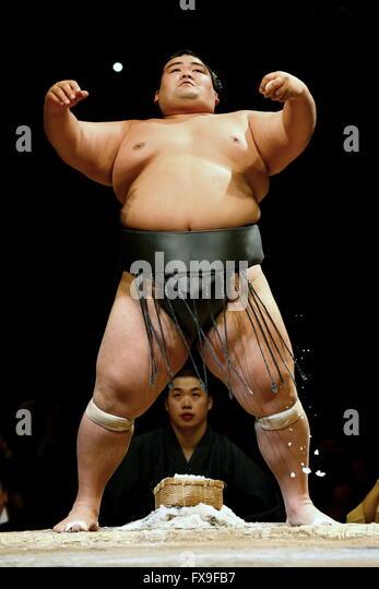 Kawasaki, Japan. 13th Apr, 2016. Kotoshogiku Sumo : 1st Grand Sumo Tournament Kawasaki Furusato Basho in Kawasaki, - Stock Image