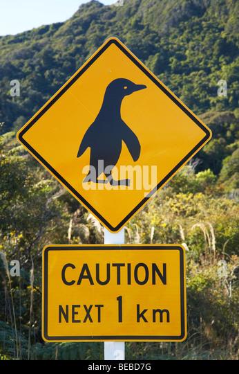 Penguin Warning Sign, West Coast, South Island, New Zealand - Stock Image