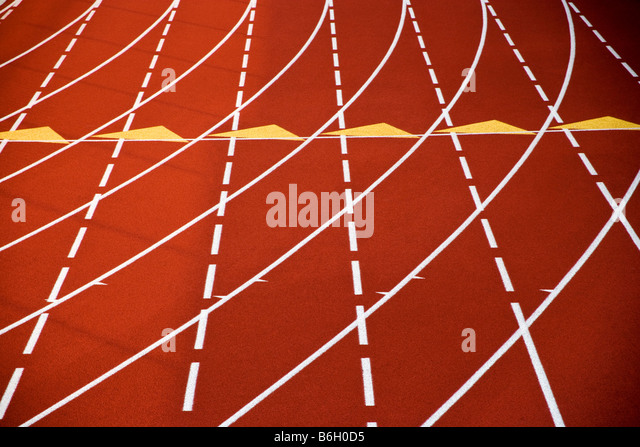 Close up of synthetic track surface at 2nd Annual PA Distance Festival - Stock Image