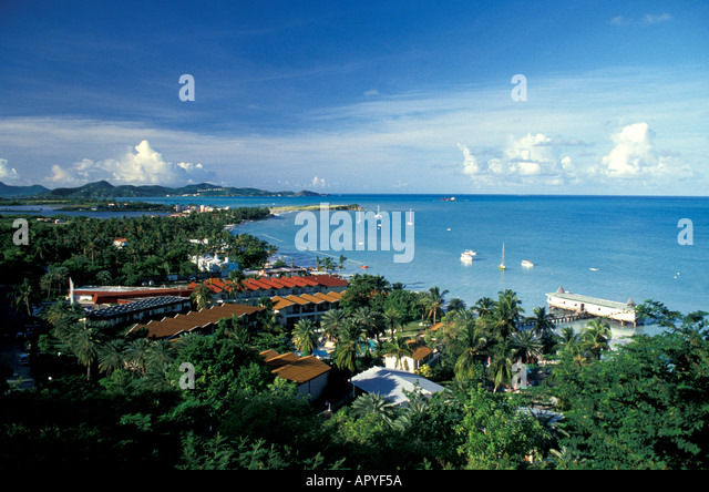 Antigua aerial Dickinson Bay above Overview - Stock Image