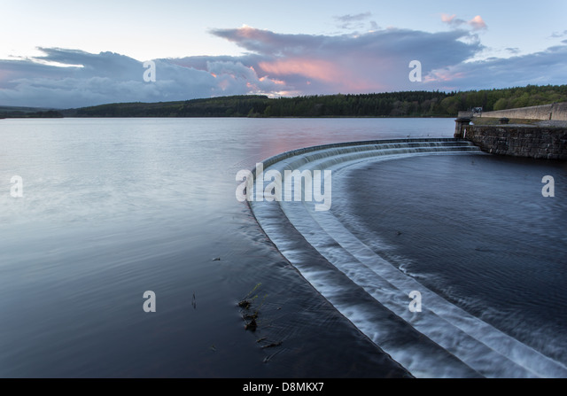 Fewston reservoir overflow, near Harrogate at dusk - Stock Image